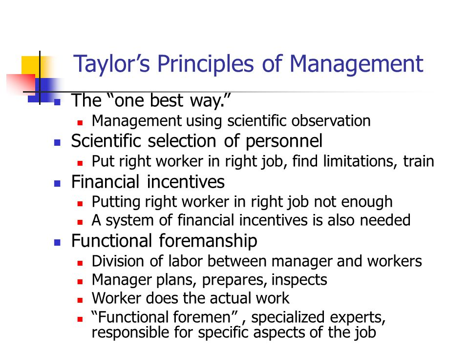 Taylor's Principles of Management