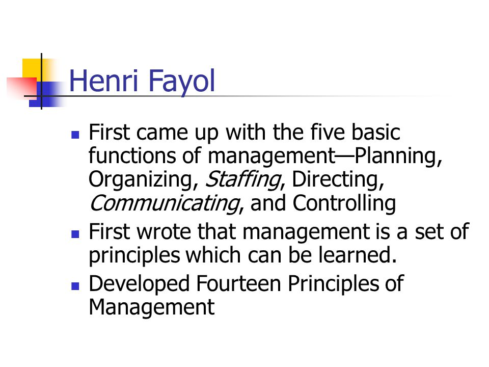 Henri Fayol First came up with the five basic functions of management—Planning, Organizing, Staffing, Directing, Communicating, and Controlling.