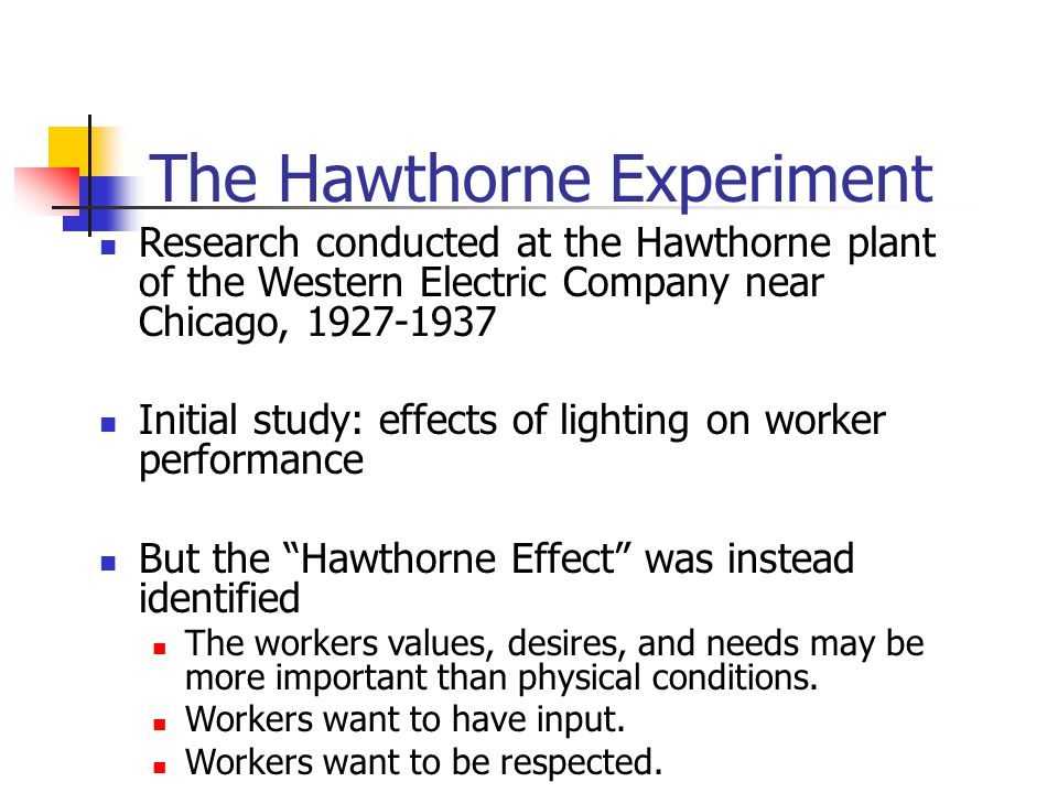 The Hawthorne Experiment