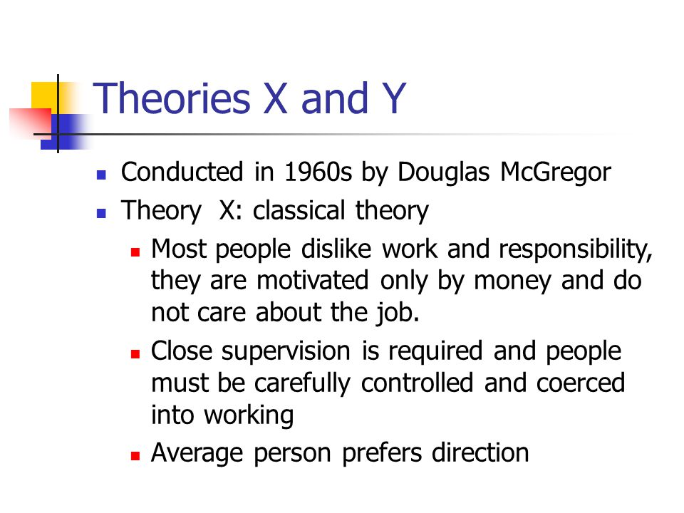 Theories X and Y Conducted in 1960s by Douglas McGregor