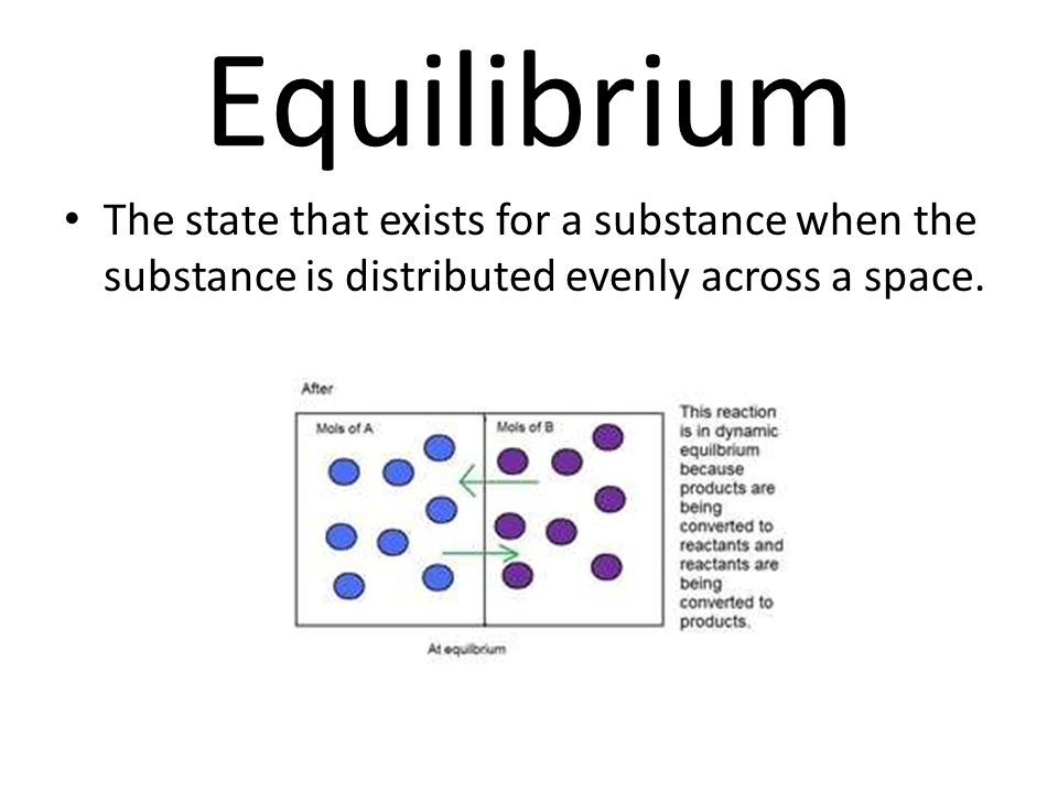 Equilibrium The state that exists for a substance when the substance is distributed evenly across a space.