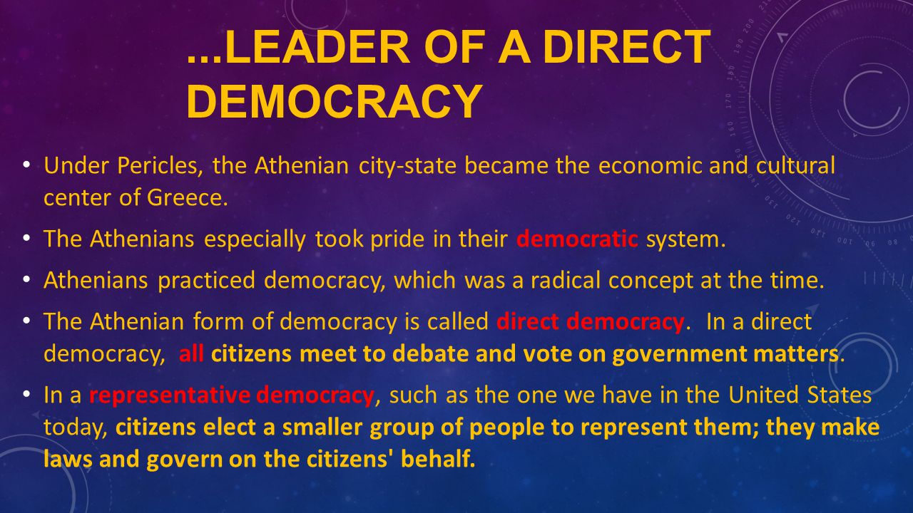 a report on the direct democracy practiced in athens