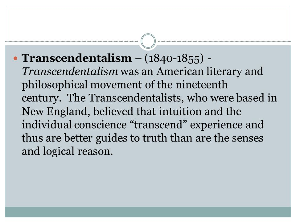an analysis of transcendentalism a philosophical movement Transcendentalism was a literary and philosophical movement of 19th century the movement began in united states the ideas of transcendentalism were.