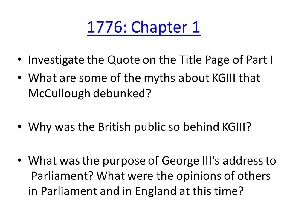 What Page Is This Quote On   1776 Chapter 1 Investigate The Quote On The Title Page Of Part I