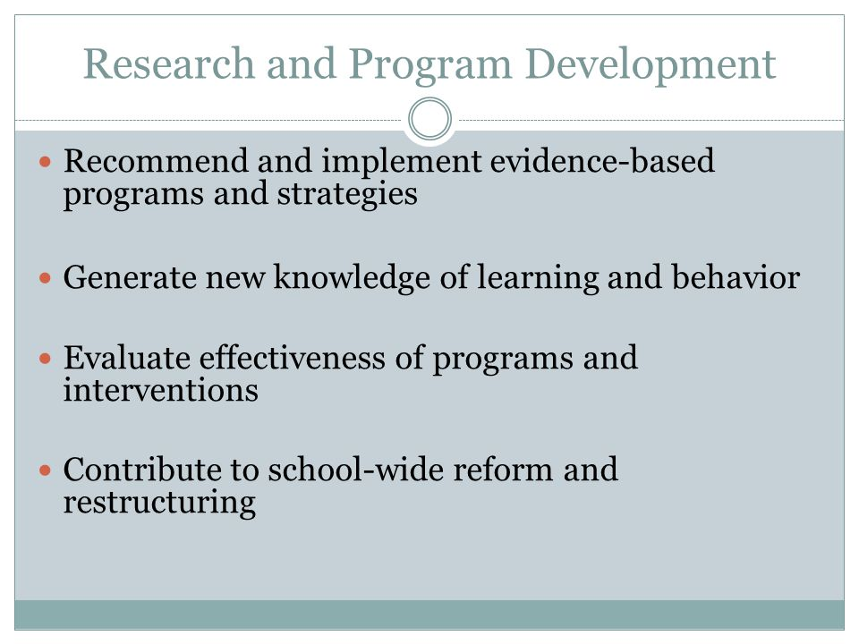 Research and Program Development