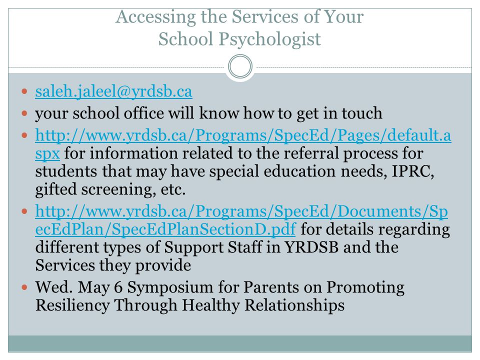 Accessing the Services of Your School Psychologist