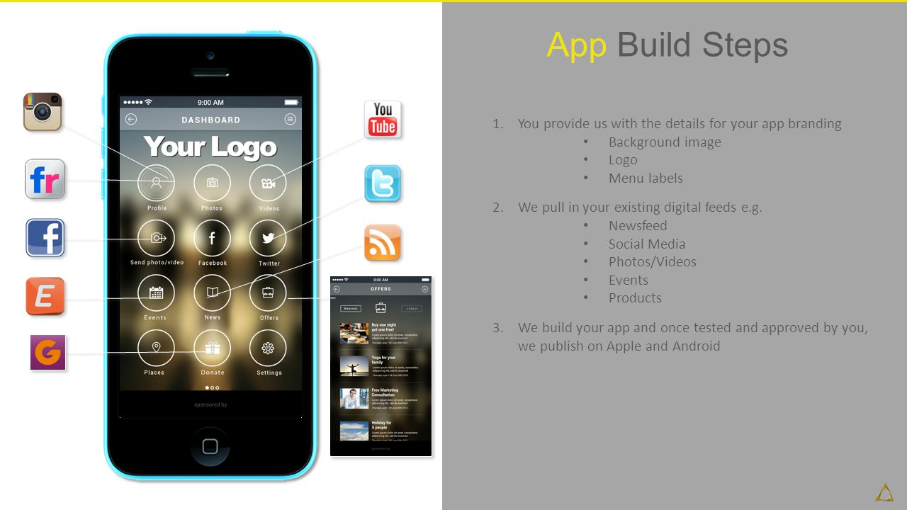 App Build Steps You provide us with the details for your app branding