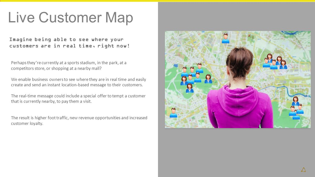 Live Customer Map Imagine being able to see where your customers are in real time, right now!