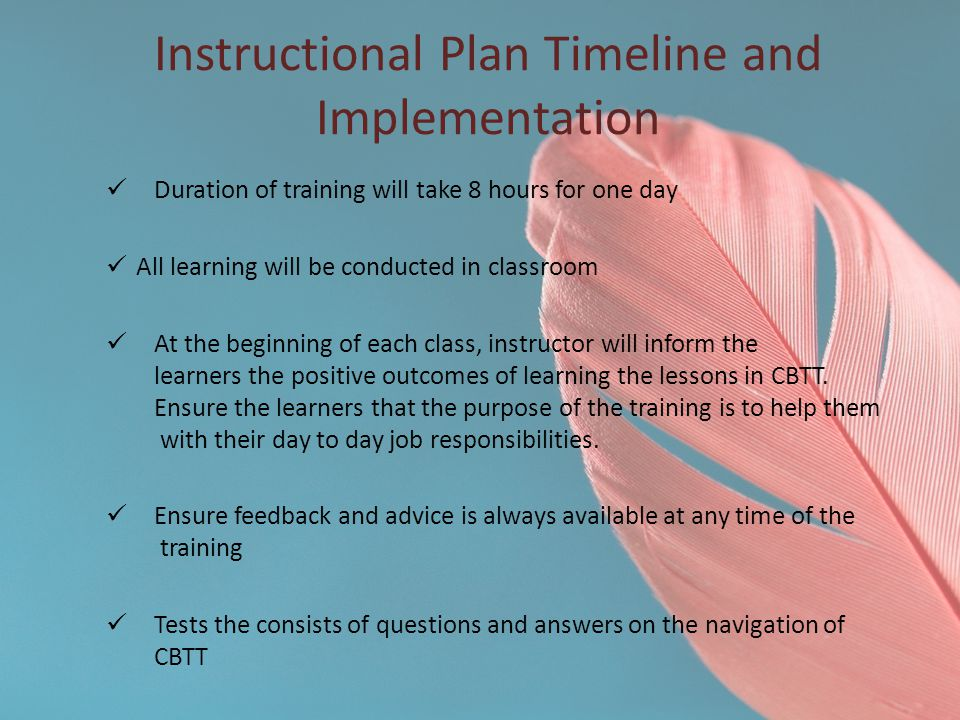 Instructional Plan Timeline and Implementation