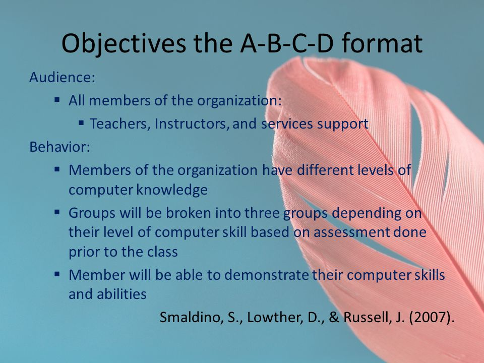 Objectives the A-B-C-D format