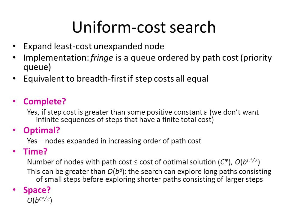 Uniform-cost search Expand least-cost unexpanded node