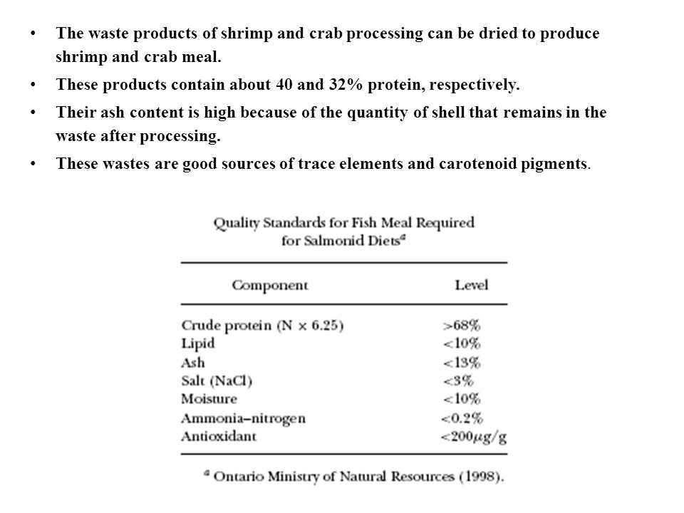 The waste products of shrimp and crab processing can be dried to produce shrimp and crab meal.