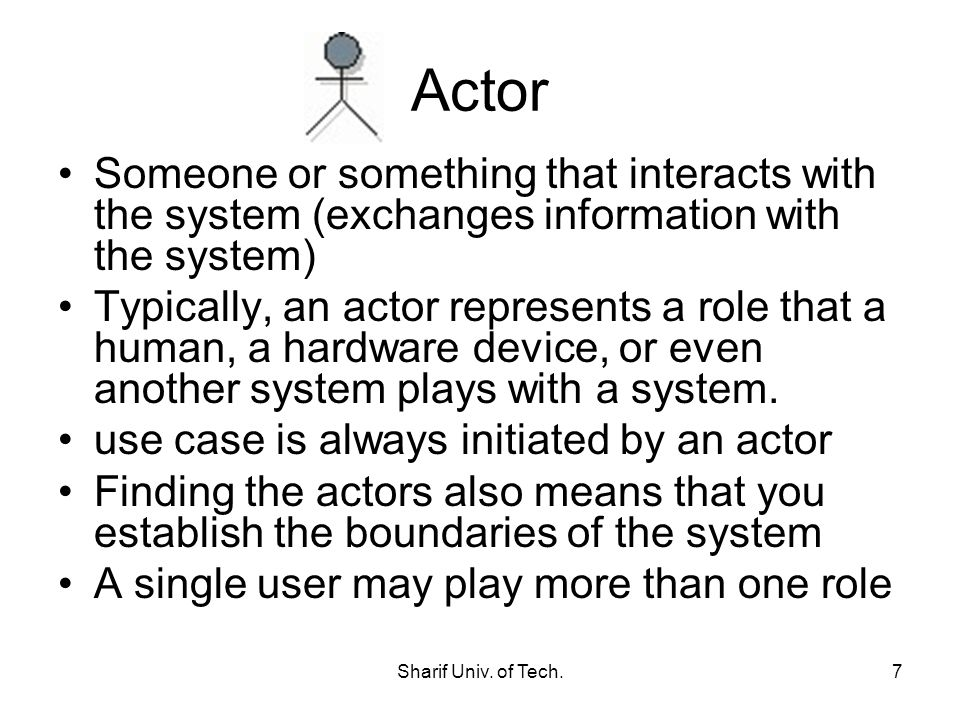 Actor Someone or something that interacts with the system (exchanges information with the system)