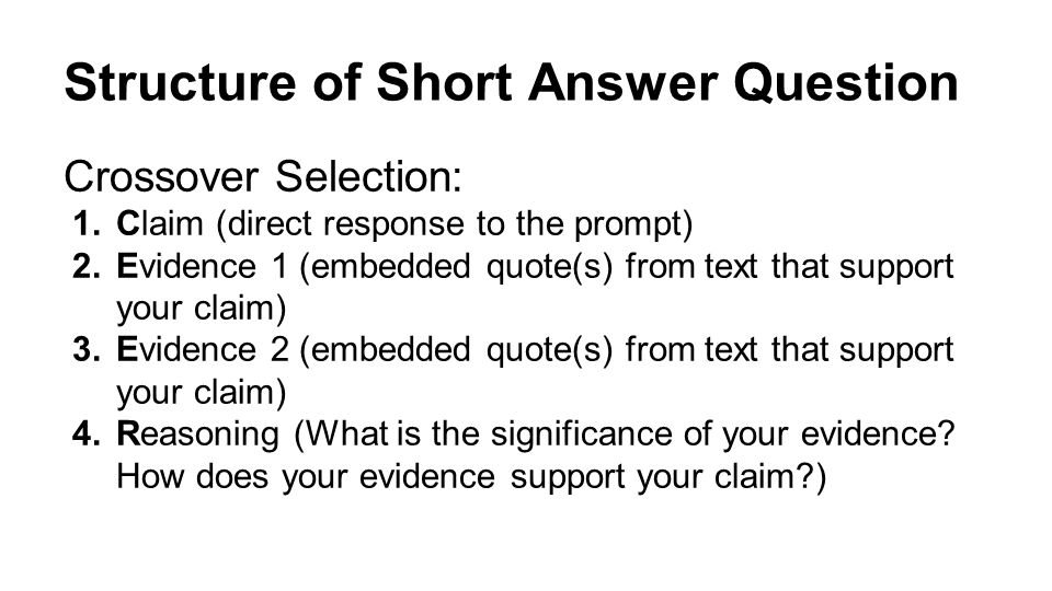 Short answer essay directions