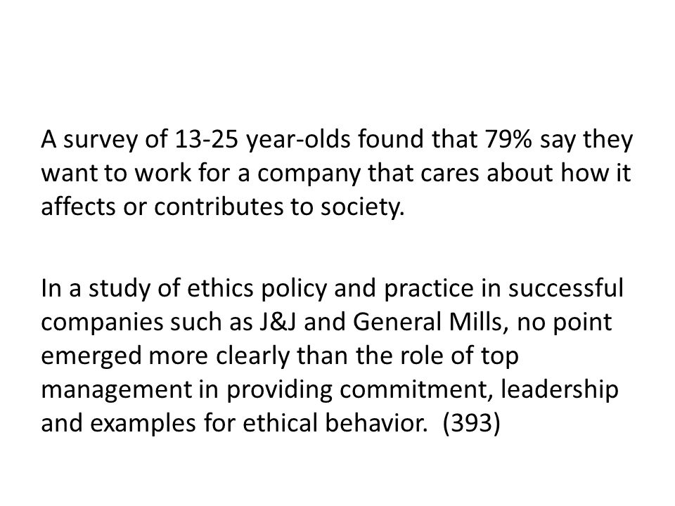 A survey of 13-25 year-olds found that 79% say they want to work for a company that cares about how it affects or contributes to society.