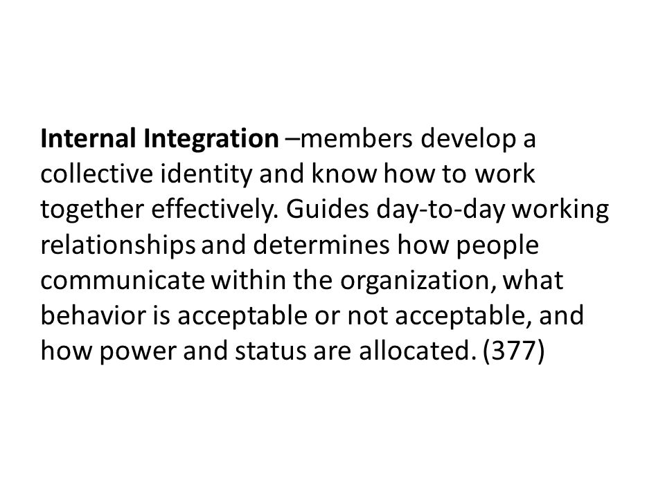 Internal Integration –members develop a collective identity and know how to work together effectively.