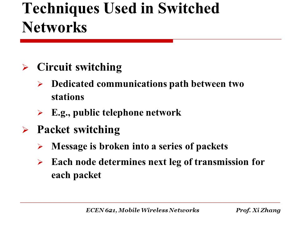 Techniques Used in Switched Networks