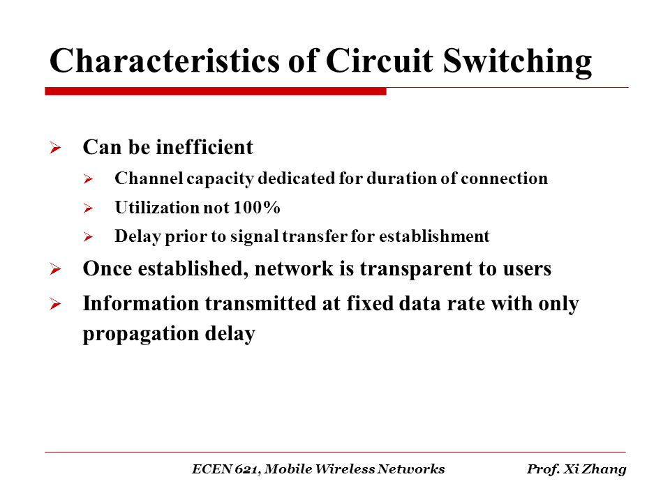 Characteristics of Circuit Switching