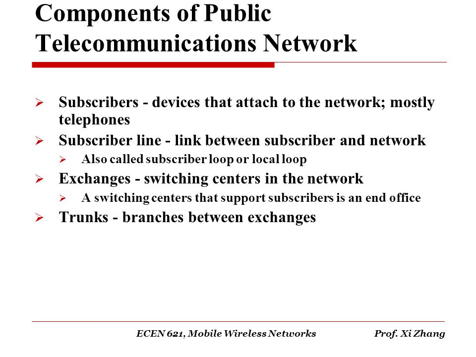 Components of Public Telecommunications Network