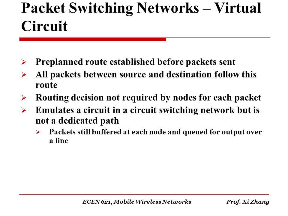 Packet Switching Networks – Virtual Circuit