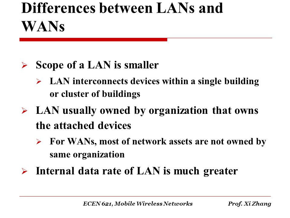 Differences between LANs and WANs