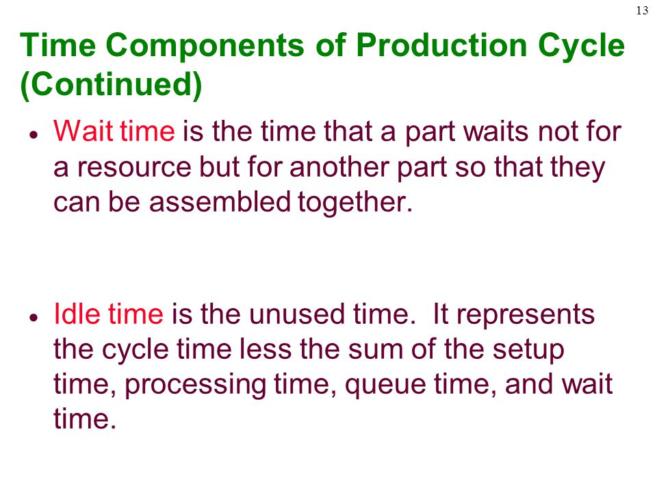 Time Components of Production Cycle (Continued)