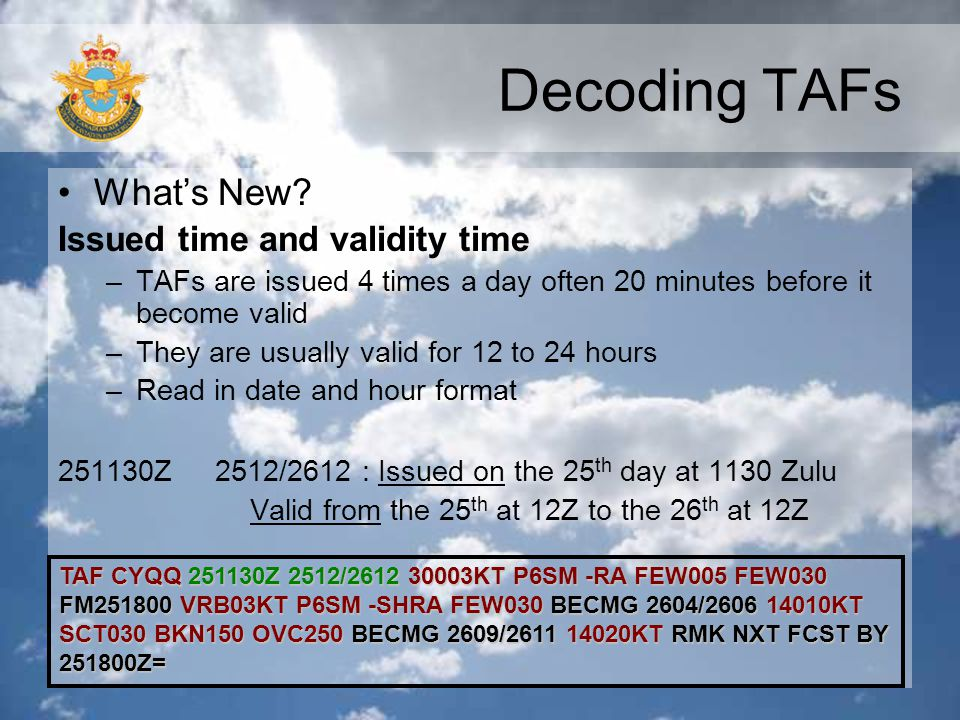Decoding TAFs What's New Issued time and validity time