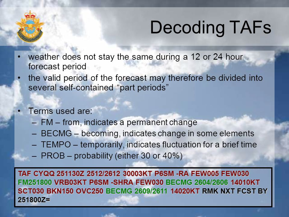 Decoding TAFs weather does not stay the same during a 12 or 24 hour forecast period.
