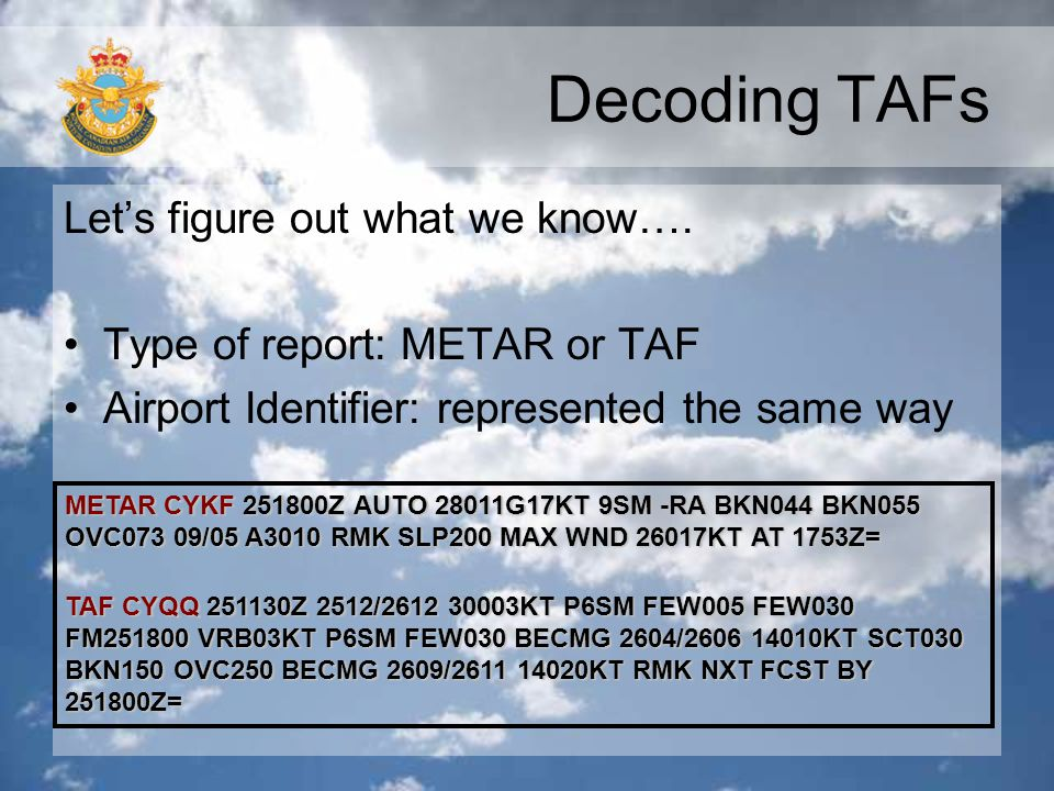 Decoding TAFs Let's figure out what we know….