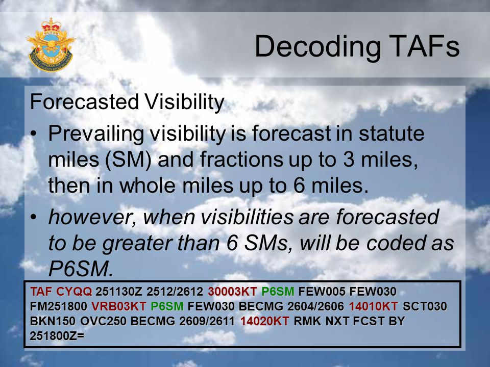 Decoding TAFs Forecasted Visibility