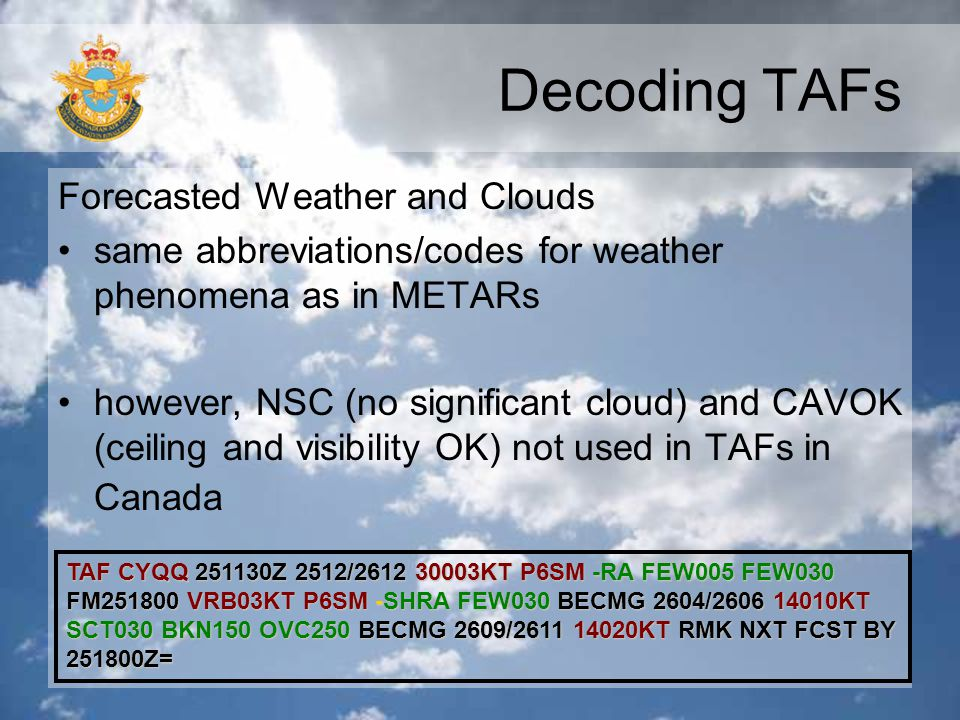 Decoding TAFs Forecasted Weather and Clouds