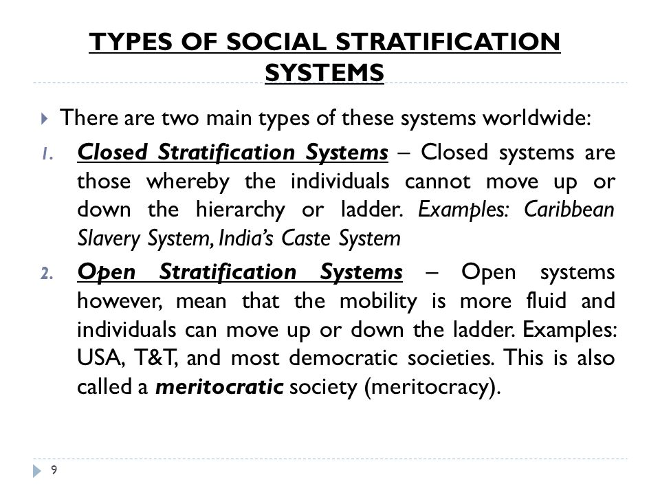 TYPES OF SOCIAL STRATIFICATION SYSTEMS