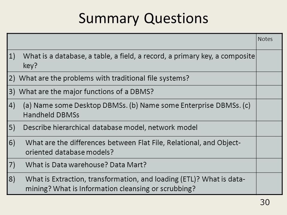 Summary Questions Notes. What is a database, a table, a field, a record, a primary key, a composite key