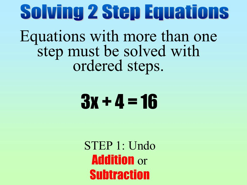 Equations with more than one step must be solved with ordered steps.
