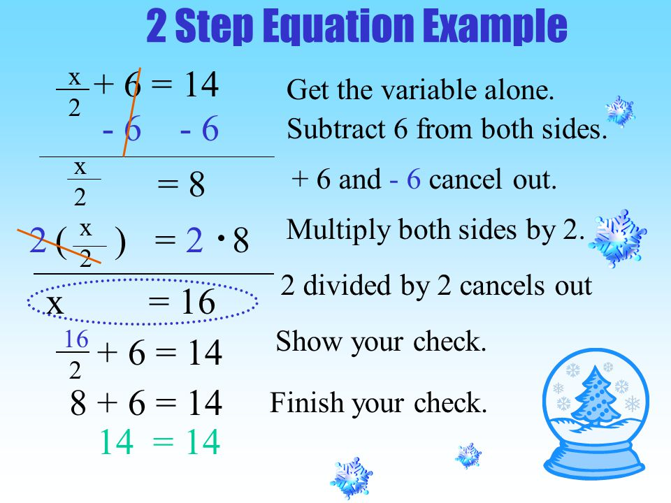 = 8 ( ) = x = 16 2 Step Equation Example Get the variable alone.