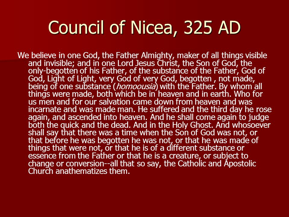 romes constantine and the council of nicea The council of nicea was convened in t 325 ce (ad) by constantine, emperor of the roman empire constantine, a worshipper of the 'sun-god,' technically 'converted' to christianity his reign marked the alliance of church and state christians were no longer persecuted by the pagans.