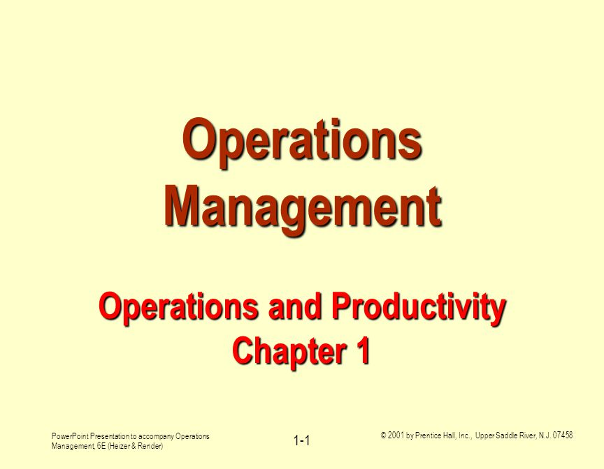 Operations Management Operations And Productivity Chapter 1