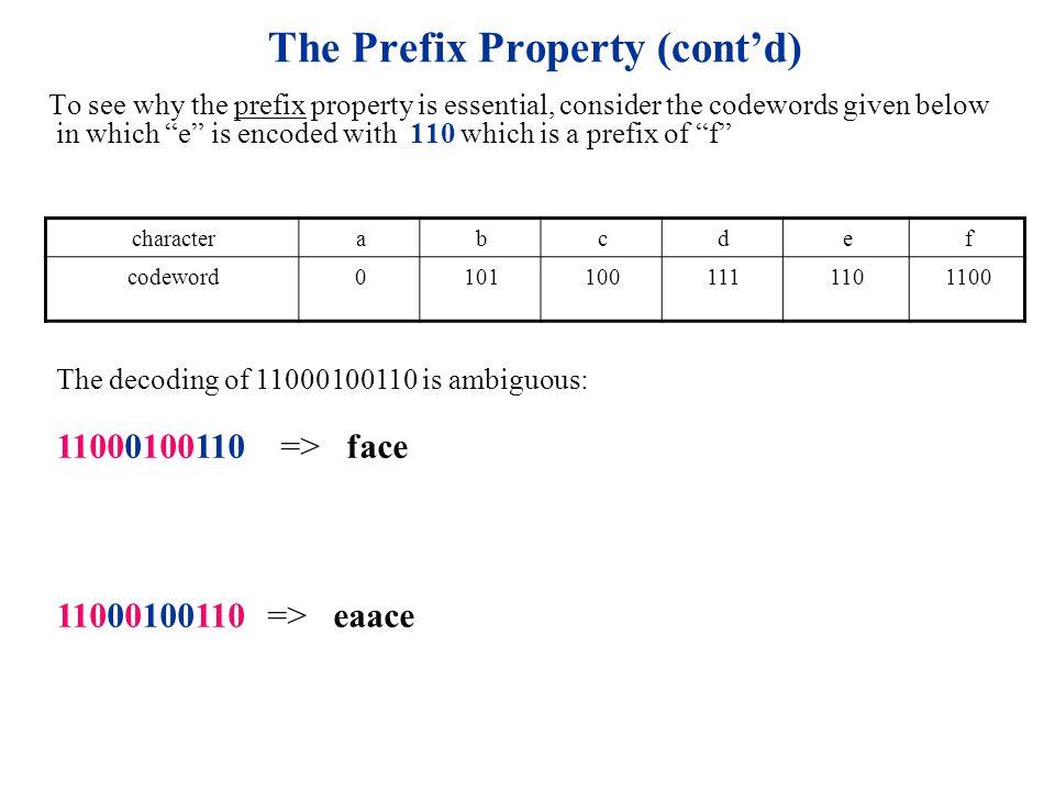 The Prefix Property (cont'd)