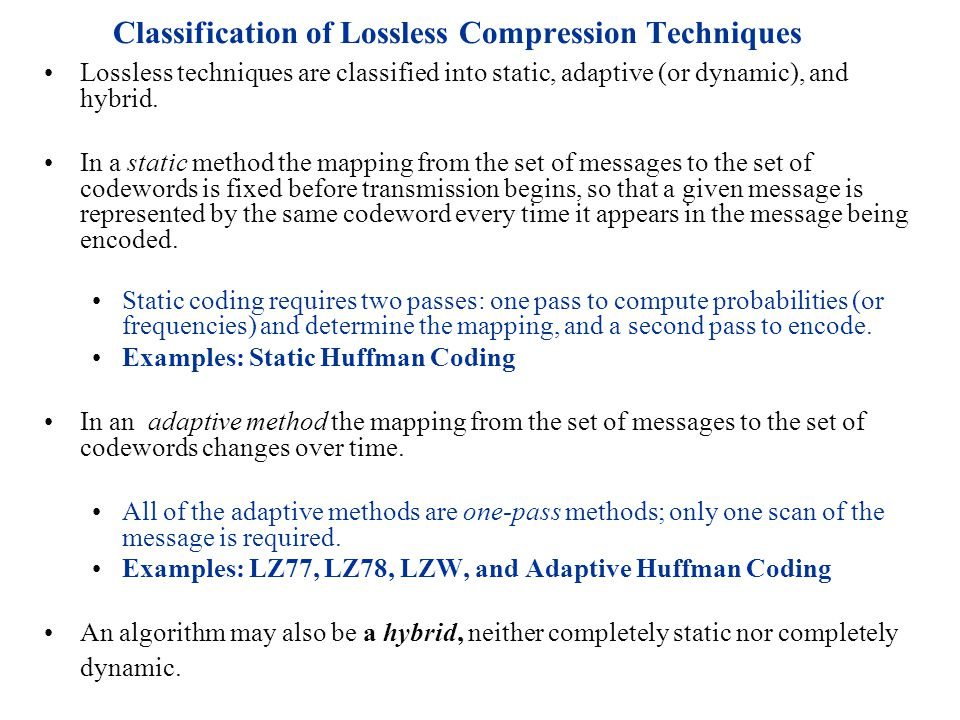 Classification of Lossless Compression Techniques