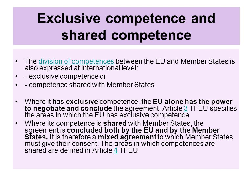 Exclusive competence and shared competence