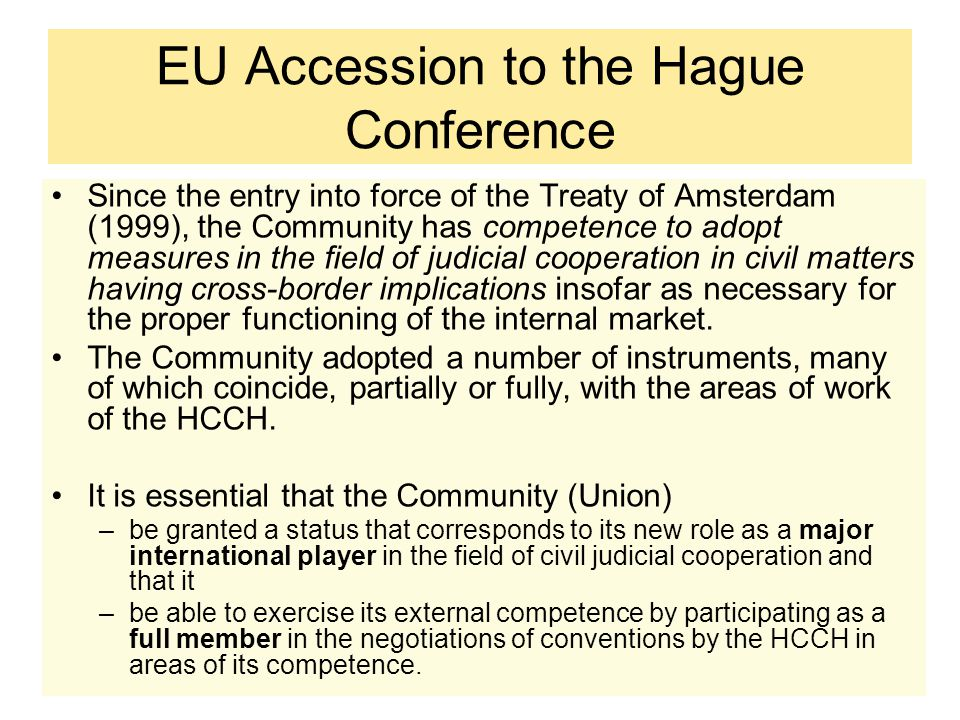 EU Accession to the Hague Conference