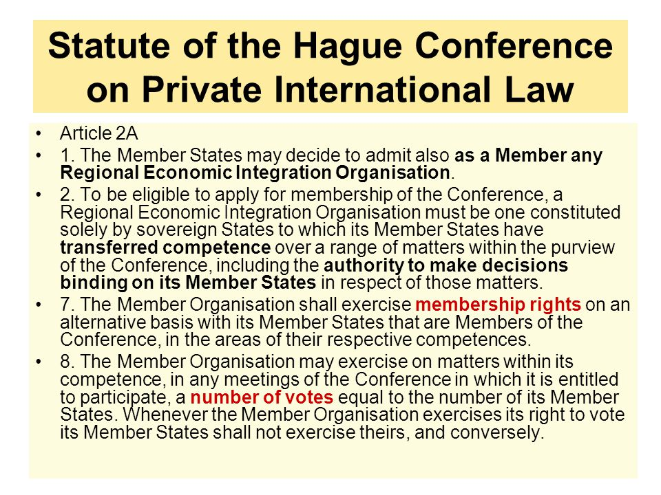 Statute of the Hague Conference on Private International Law