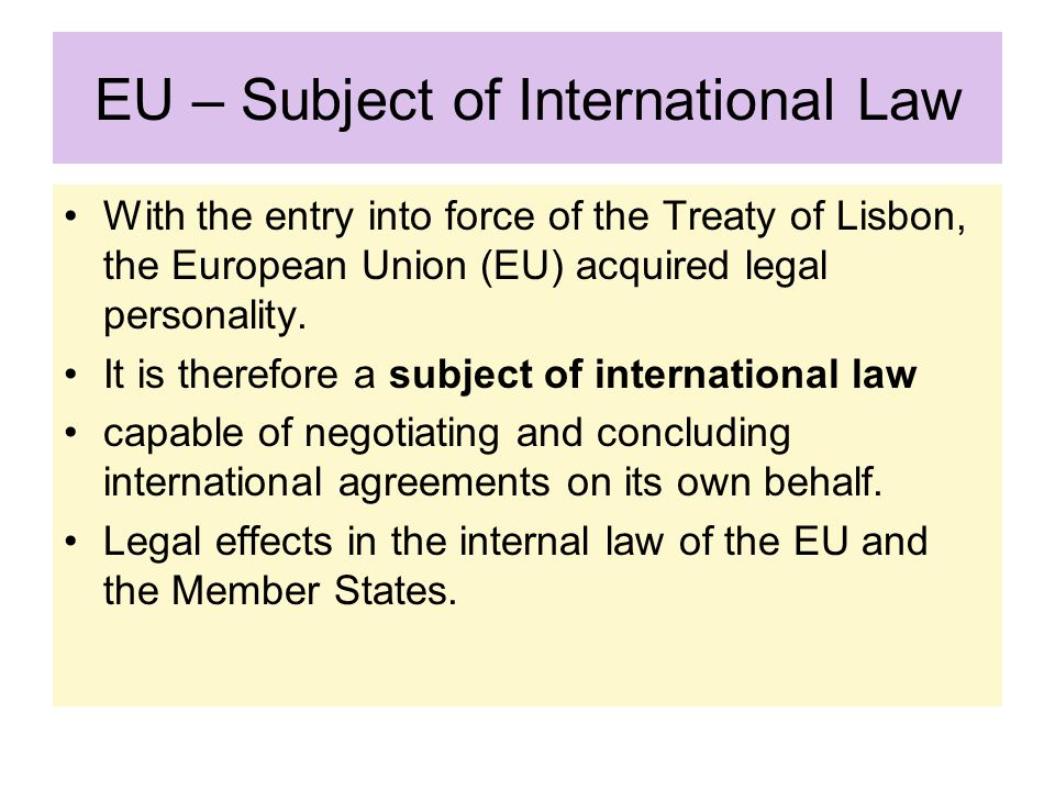 EU – Subject of International Law