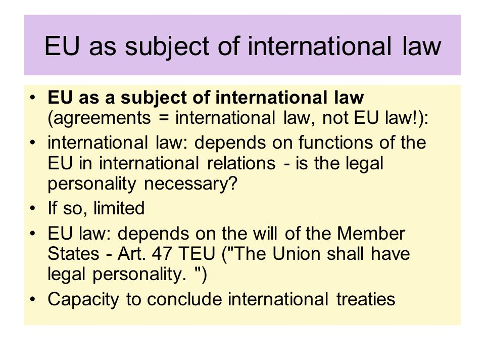 EU as subject of international law