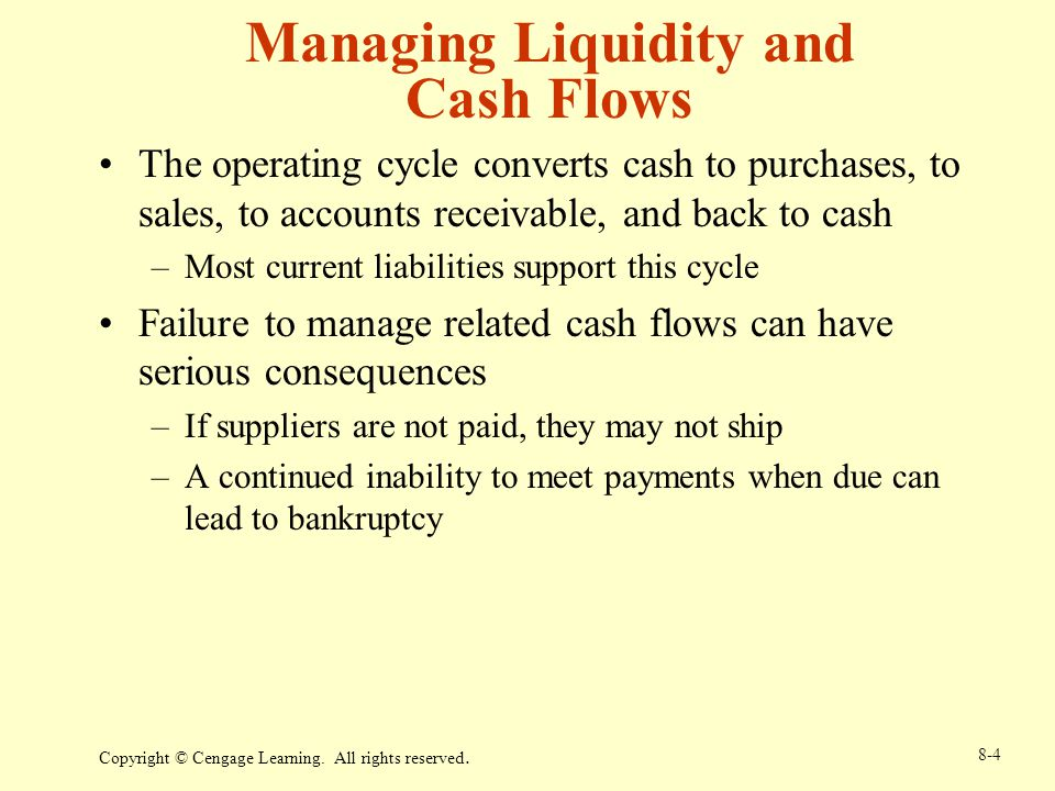 managing current liabilities Liquidity vs profitability assignment help  the risk-return trade-off involved in managing the firm's  decrease in current liabilities will decrease.