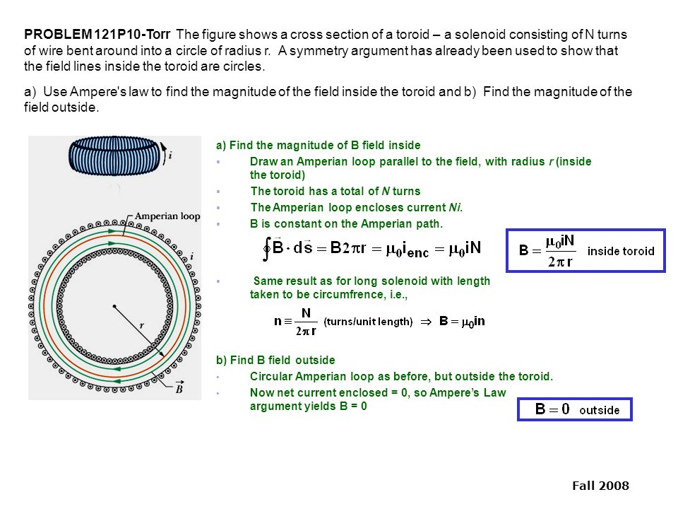 PROBLEM 121P10-Torr The figure shows a cross section of a toroid – a solenoid consisting of N turns of wire bent around into a circle of radius r. A symmetry argument has already been used to show that the field lines inside the toroid are circles.