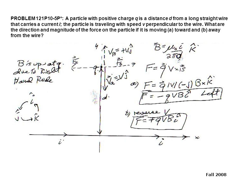 PROBLEM 121P10-5P*: A particle with positive charge q is a distance d from a long straight wire that carries a current i; the particle is traveling with speed v perpendicular to the wire.