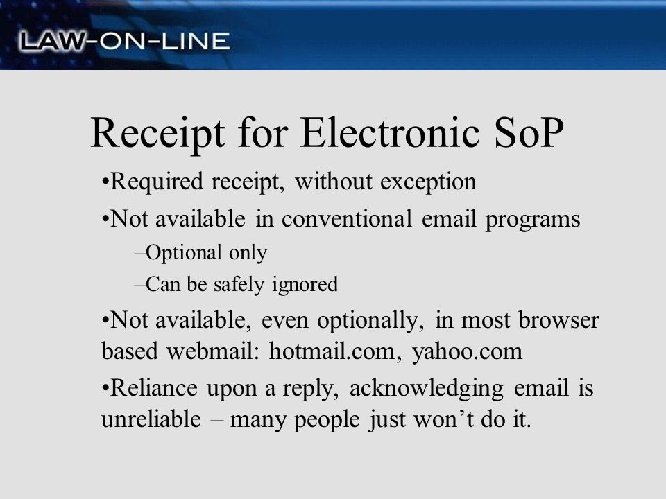 Receipt for Electronic SoP