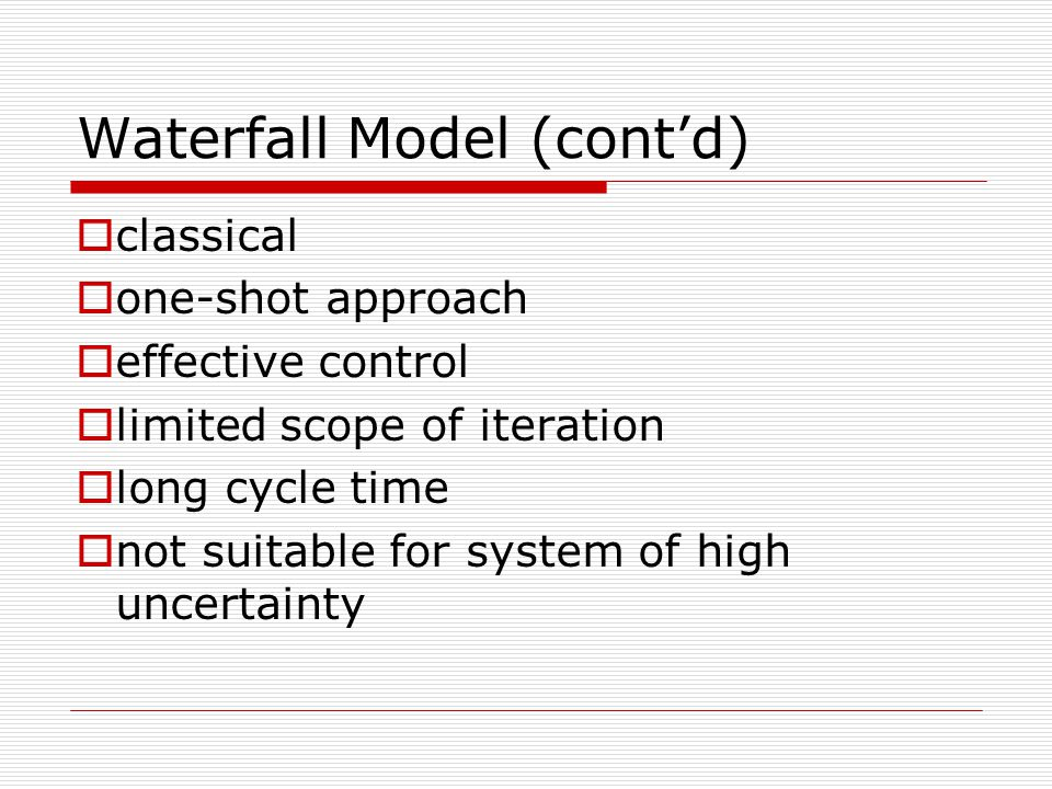 Software project management intro to project management for Waterfall model is not suitable for