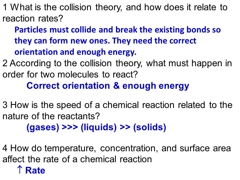 1 What Is The Collision Theory And How Does It Relate To Reaction. 1 What Is The Collision Theory And How Does It Relate To Reaction Rates. Worksheet. Reaction Mechanisms And Collision Theory Worksheet At Clickcart.co